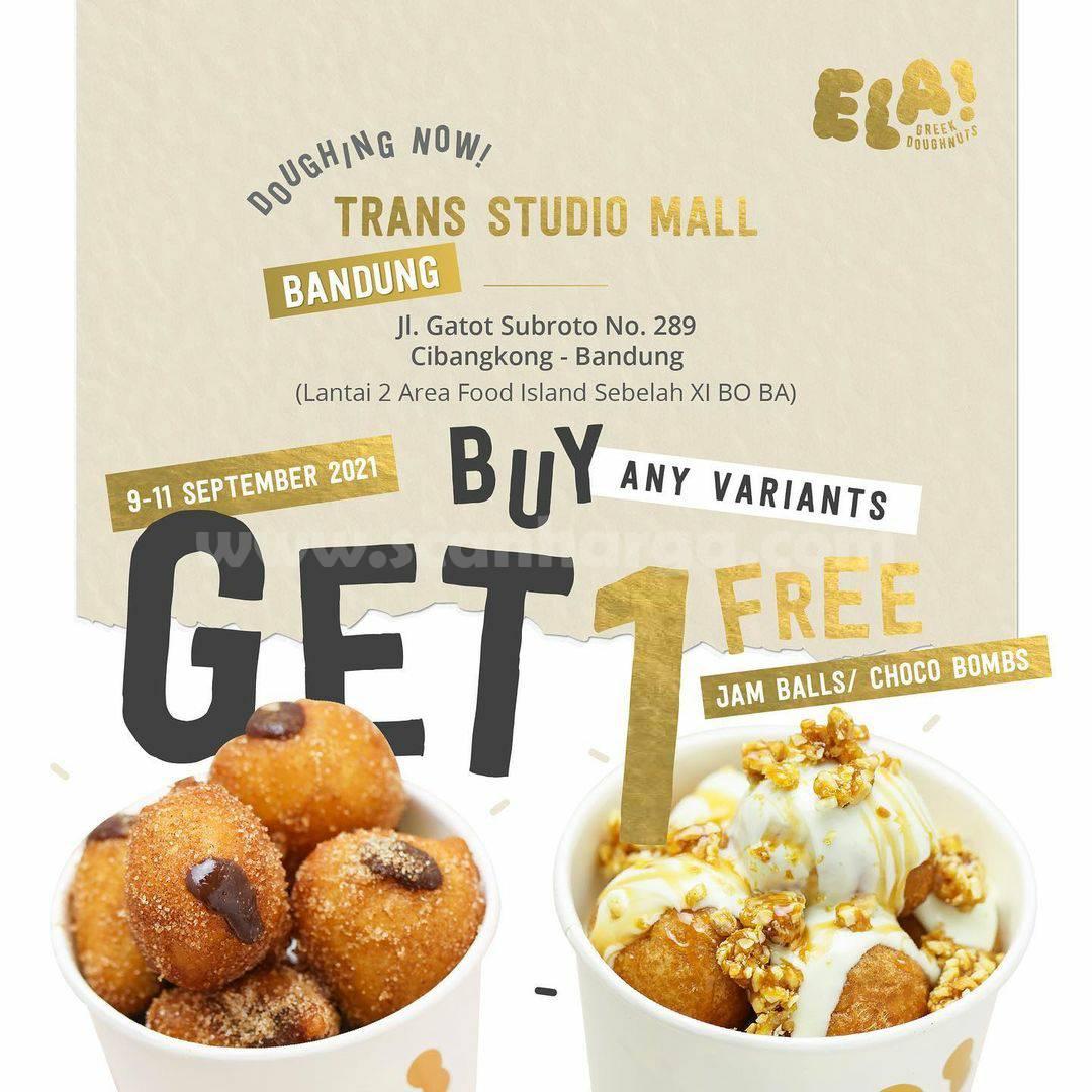 ELA! Greek Doughnuts Trans Studio Bandung Opening Promo Beli 1 Gratis 1