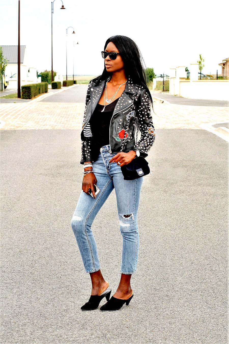 idee-look-rock-veste-cuir-mules-jeans-sac-chaine