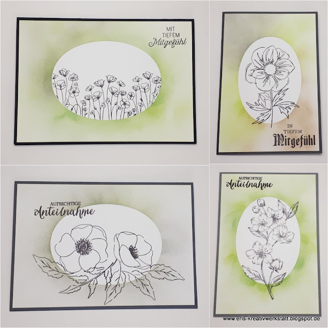 Trauerkarten mit Blumen und gewischtem Hintergrund Stampin' Up! www.eris-kreativwerkstatt.blogspot.de