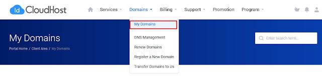 menu domain idcloudhost