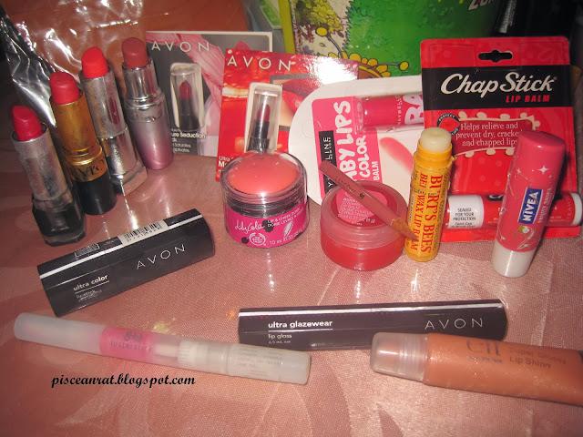 FS Cosmetics, Revlon Softsilver Red, Maybelline*, Avon*, 2 Avon mini, MNY Baby lips, Chap Stick.  L-R front, Avon, G-lish lusterstick, Avon glazewear, elf lip shine.