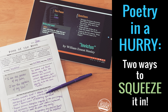 Is your instructional time to teach poetry limited? Check out these two ways to teach poetry in a hurry! I normally have much more time to teach poetry and celebrate National Poetry Month, but my time got cut short one year, and what I describe in this post not only helped me teach poetry in a hurry but also increased my students' appreciation for poetry! Click through to read and download a freebie!