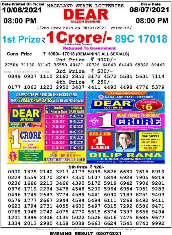 lottery sambad night 8.7.2021 8pm
