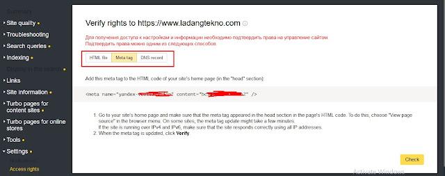 Verifikasi Website dengan Meta Tag