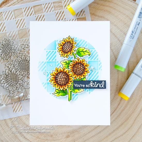 Sunflower Card by Tatiana Trafimovich | Sunflower Days Stamp Set and Gingham Stencil by Newton's Nook Designs #newtonsnook #handmade
