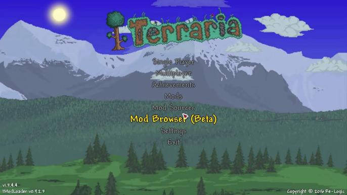 Assim que colar os arquivos na pasta do game, inicie seu Terraria e veja se aparece as configurações do tModloader, tais como esta tela: