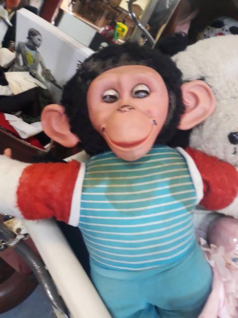 Terrifying monkey doll in Woodstock antique store
