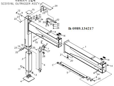 Chân- khung bệ của Cẩu soosan 15 tấn SCS1516-SCS1616