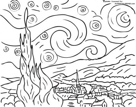 Desenhos para Colorir: Desenhos para Colorir - Van Gogh