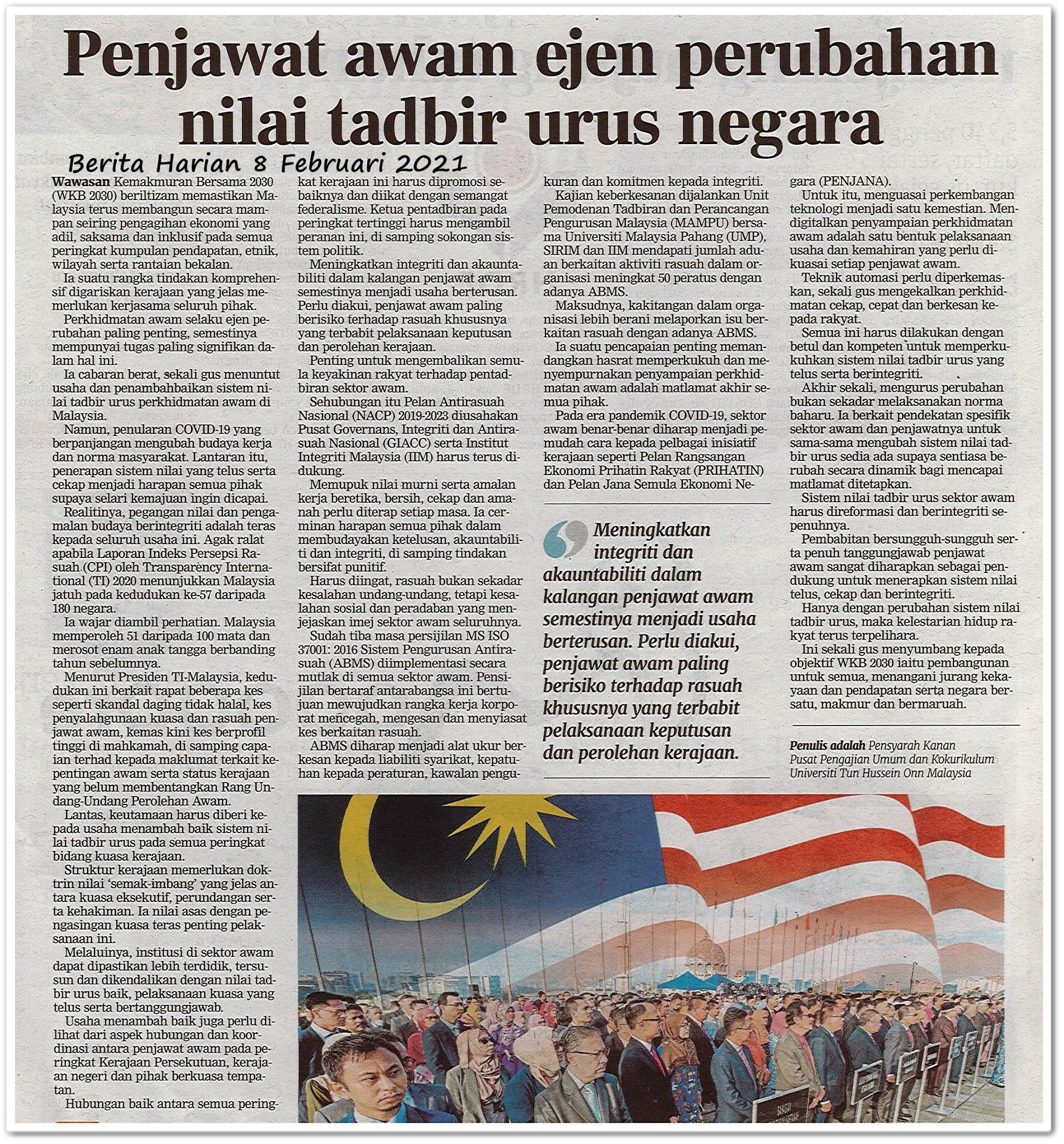 Penjawat awam ejen perubahan nilai tadbir urus negara - Keratan akhbar Berita Harian 8 Februari 2021