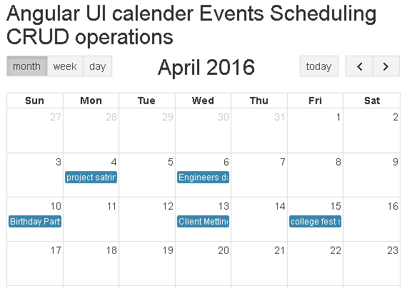 CRUD operations on Angular UI Calendar(Event Scheduling)