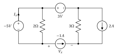 Circuit à quatre sources de tension et de courant à résoudre par la méthode de superposition