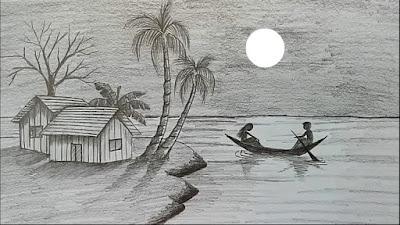 Gambar pemandangan pensil