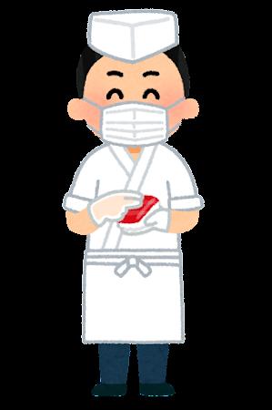 マスクを付けた寿司職人のイラスト(男性)