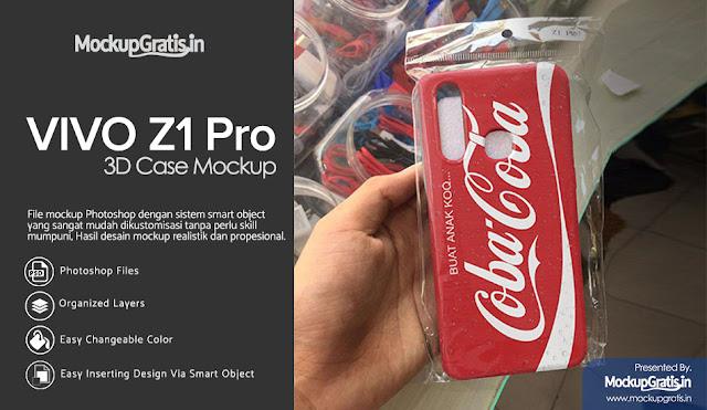 Mockup Gratis Custom Case VIVO Z1 Pro Dalam Kemasan Plastik