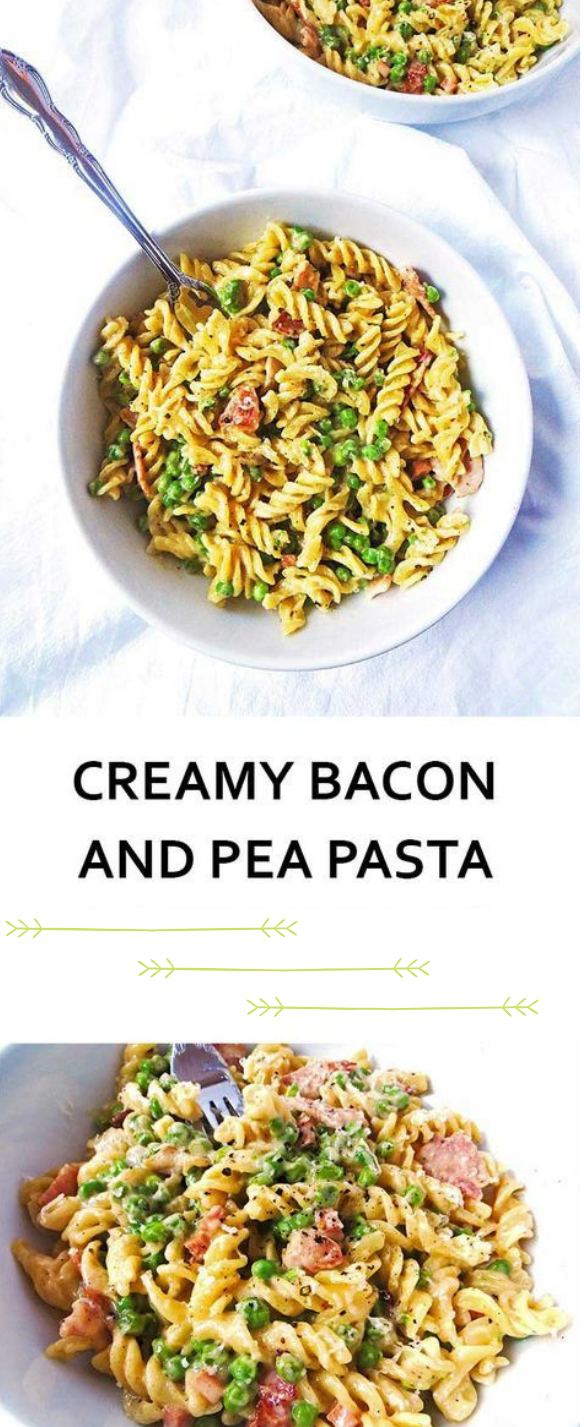 CREAMY BACON AND PEA PASTA #bacon #dinner