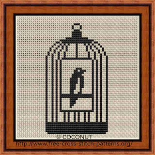 BIRD CAGE , FREE AND EASY PRINTABLE CROSS STITCH PATTERN
