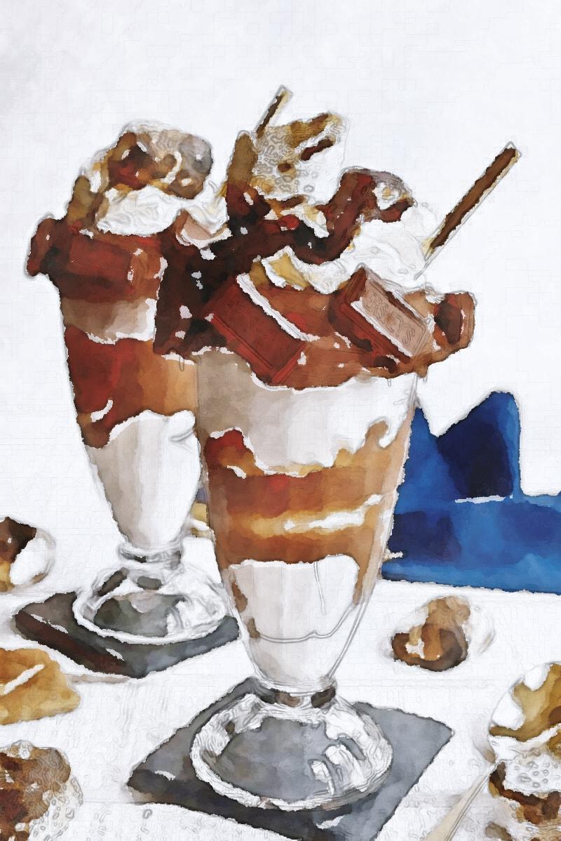水彩画のチョコレートパフェ