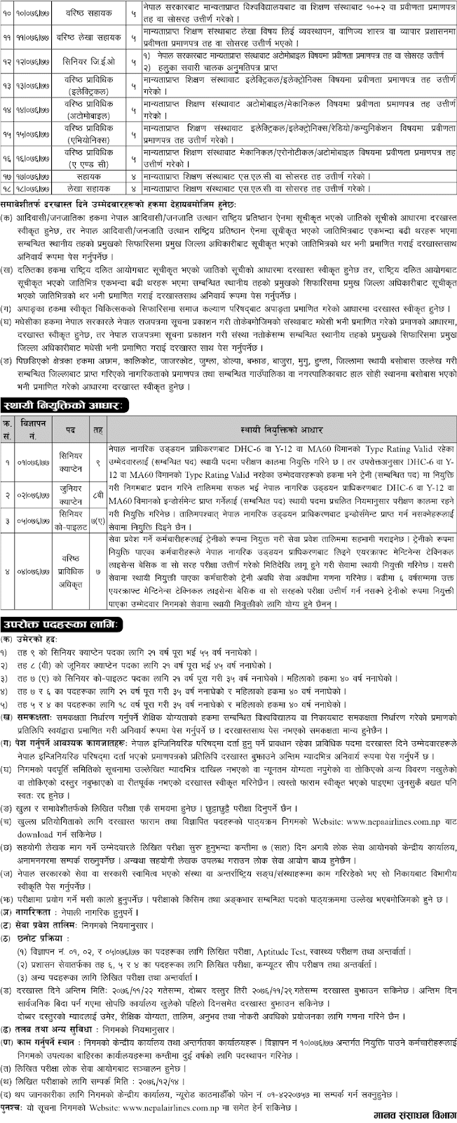 Nepal Airlines Corporation Vacancies for Various Position
