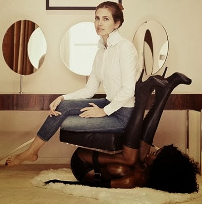 black woman chair
