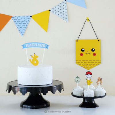 kit pokemon festa em casa