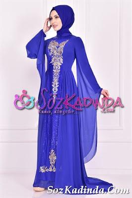 pullu mavi en güzel abiye elbise modelleri ve fiyatları