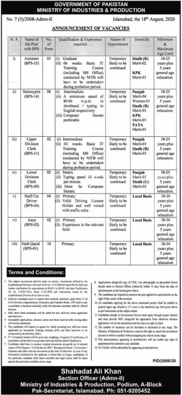 Ministry of Industries & Production Jobs 2020
