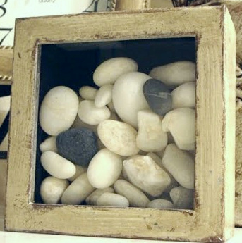 Beach Rocks in Shadow Box Decor Idea