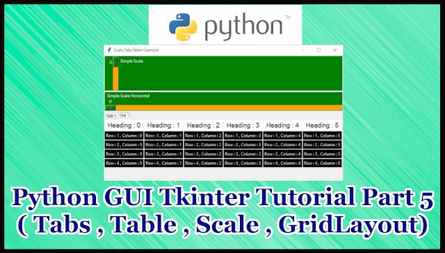 Python GUI Tkinter Tutorial Part 17.5 | Tabs,Slider,Table in Tkinter
