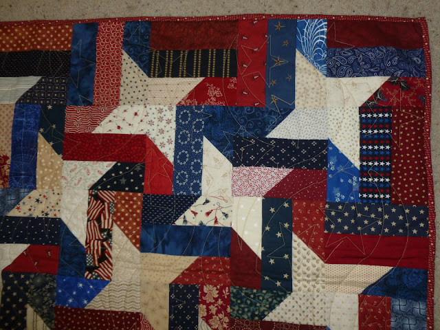 BabcoUnlimited.blogspot.com - Barbed Stars Quilt, Red White & Blue Quilt, Patriotic Quilt