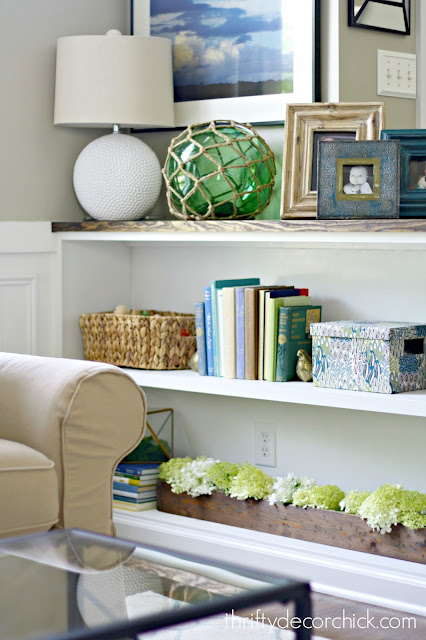 Built in half wall bookcase