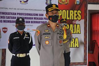 Di Polres Toraja Utara Upacara HUT ke 40 Satpam dilaksanakan secara Virtual.