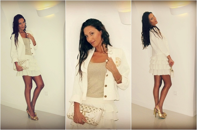 white skirt and blazer set gold knitted top gold sandals white purse