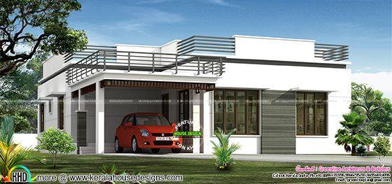 Flat Roof Single Floor Home In 1300 Sq Ft Kerala Home