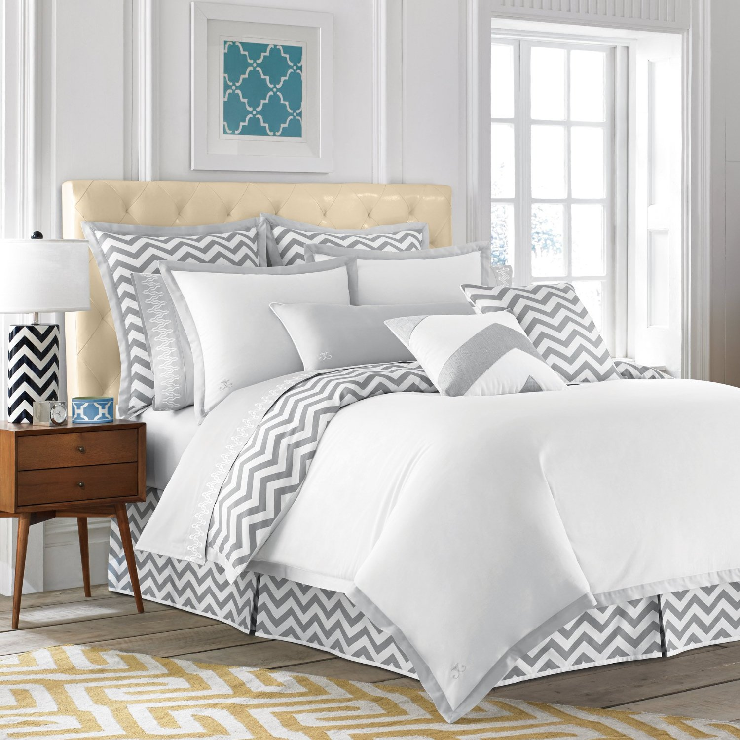 total fab grey and white chevron bedding. Black Bedroom Furniture Sets. Home Design Ideas