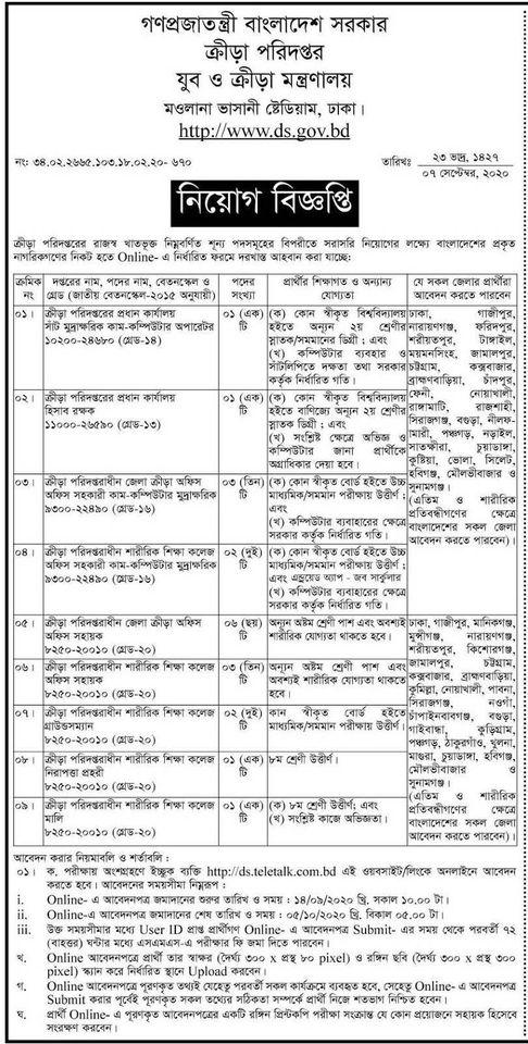 ক্রীড়া পরিদপ্তর (ডি এস) নিয়োগ বিজ্ঞপ্তি ২০২০ DS Job Circular 2020