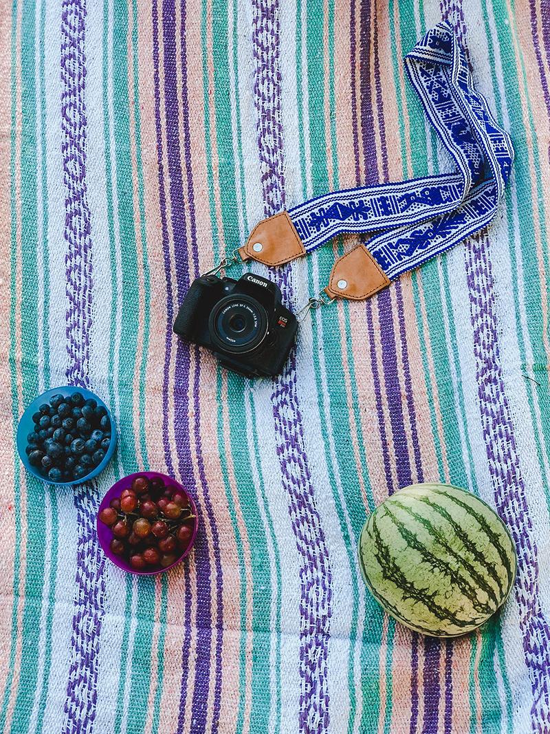 hand made camera strap, canon rebel t6i, summer fruit