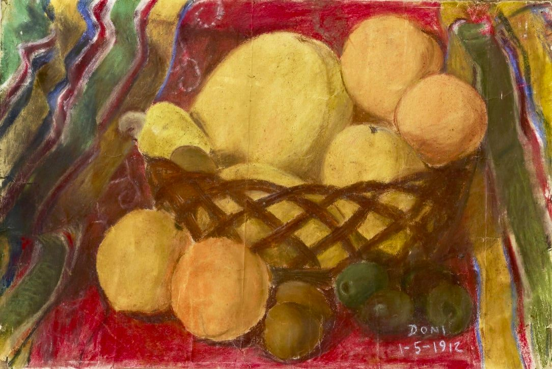 Bodegon Still Life Painting pastel on paper depicting a basket full of fruits such as mangoes, cashew, chico, papaya, chesa/tiesa and siniguelas