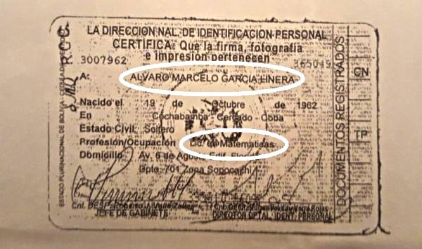 Cédula del Vicepresidente indica Lic. en matemáticas