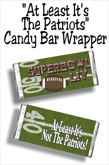 "Enjoy the big game with this fun Super Bowl LIV printable candy bar wrapper. Whether you are cheering on the 49ers or the Chiefs or just glad ""at least it's not the Patriots, enjoy these football party food treats at your football game this weekend. #superbowllivpartyfood #superbowlcandybarwrapper #diypartymomblog"