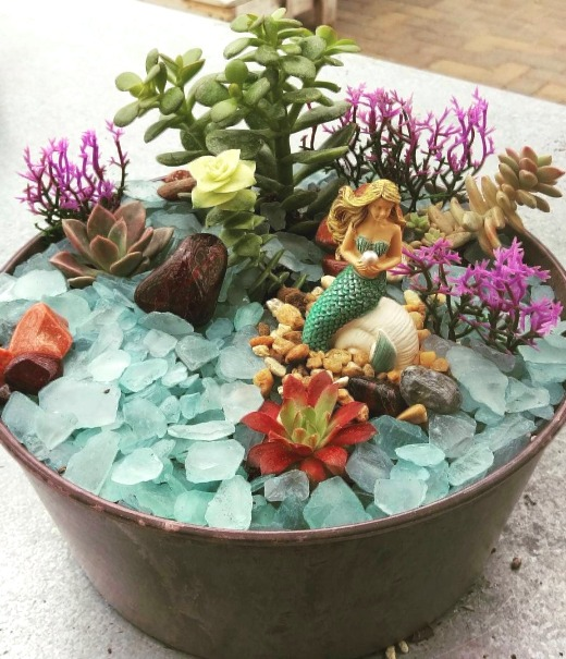 Mermaid Fairy Garden in Pot with Seaglass Mulch