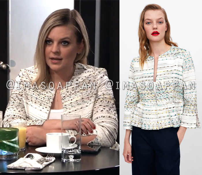 Maxie Jones, Kirsten Storms, White Peplum Blazer with Multicolored Embroidery, General Hospital, GH