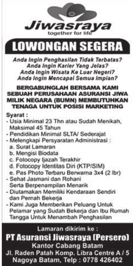 Lowongan Kerja PT. Asuransi Jiwasraya Persero