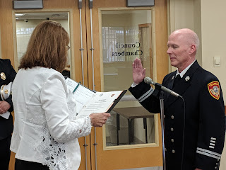 Fire Captain Darrell Griffin was sworn in by Town Clerk Teresa Burr