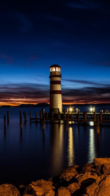 Farol, Noite, Natureza, Reflexão, Pôr do Sol