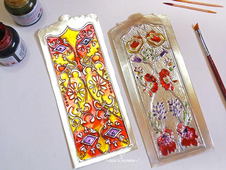 2 formas de pintar el repujado con vitral facilmente