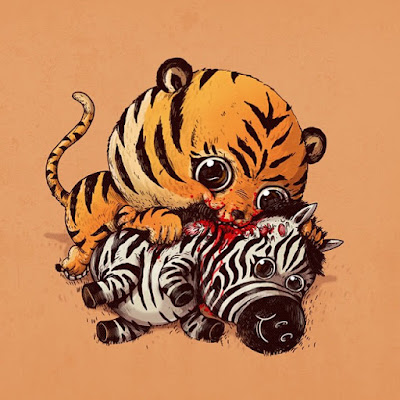 Caricatura de Tigre devorando a una zebra.