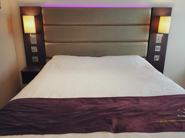 King bed at Premier Inn London Heathrow Airport Terminal 4