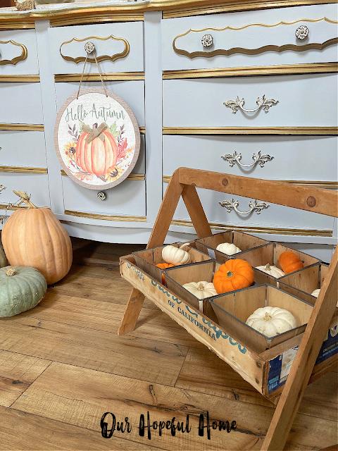 round fall art sign wooden fruit carrier baskets
