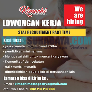 We Are Hiring at Kimochi (Thematic Massage) Surabaya June 2019